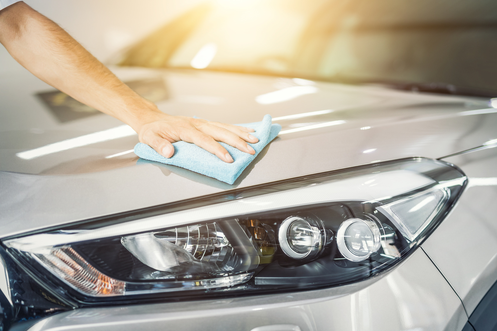 Car detailing concept. Auto cleaning and polish.